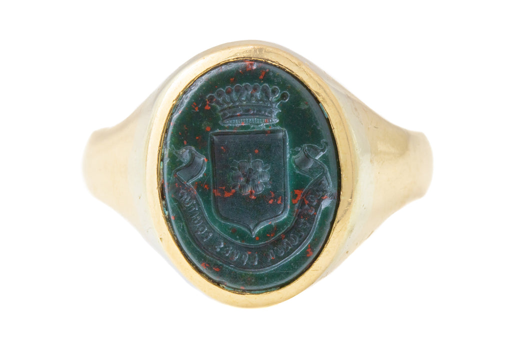 Antique 18ct Gold Bloodstone Intaglio Signet Ring