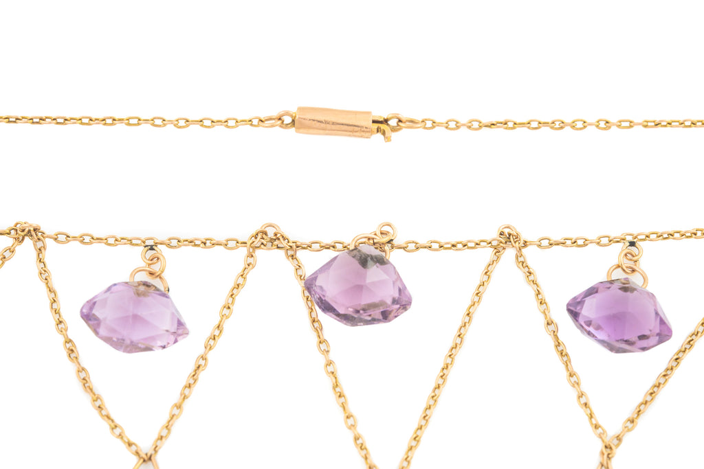 15ct Gold Amethyst Festoon Necklace