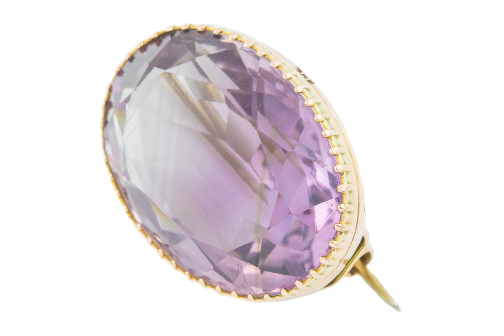 Antique 9ct Gold Amethyst Brooch (37.71ct)