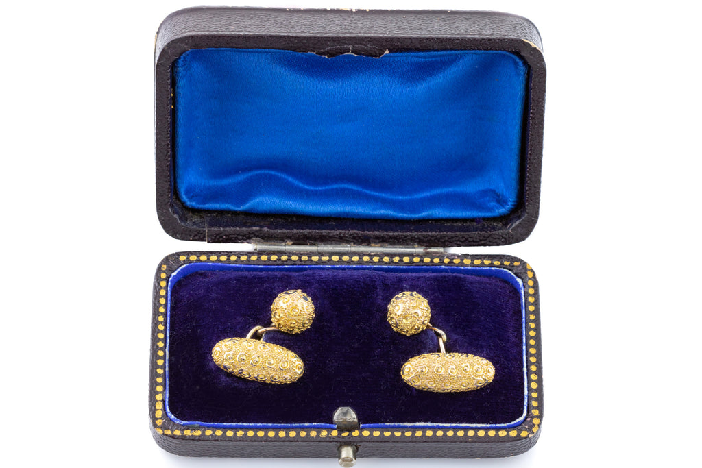 Victorian Engraved Gold Cufflinks with Original Antique Box