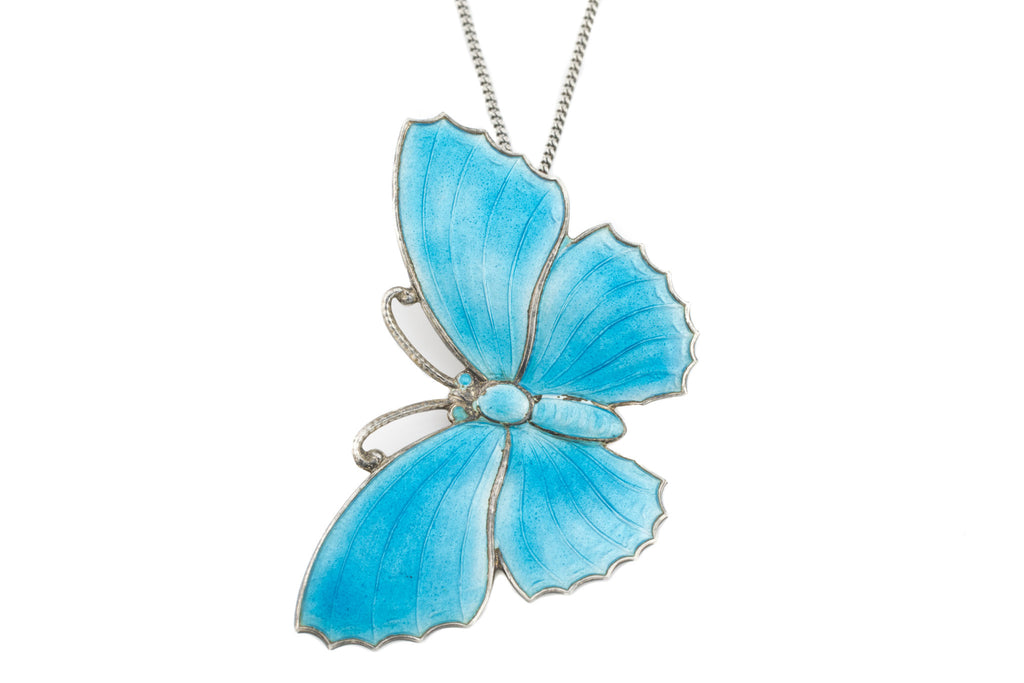 Art Deco Blue Butterfly Pendant