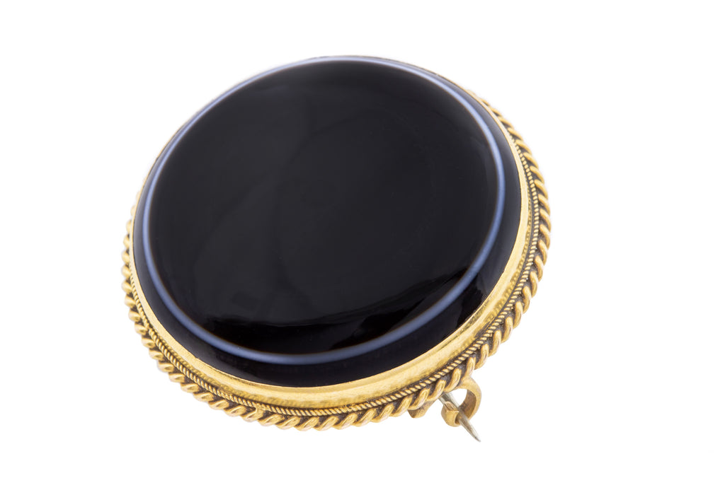 Large 15ct Gold Victorian Banded Agate Brooch with Locket Back