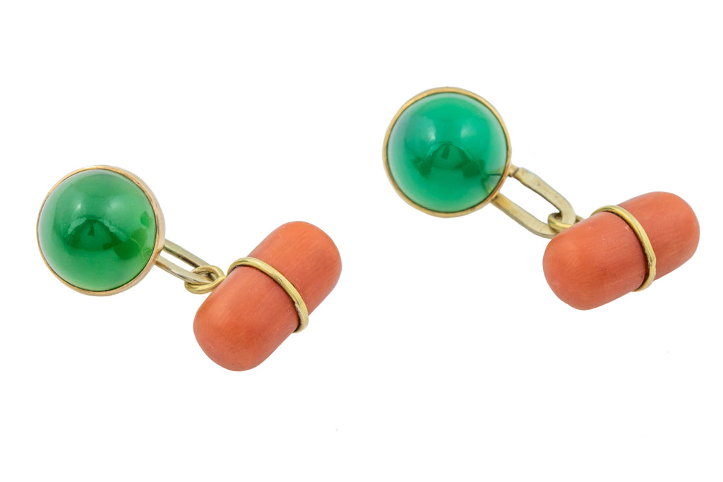 15ct Gold Art Deco Green Chalcedony Coral Cufflinks