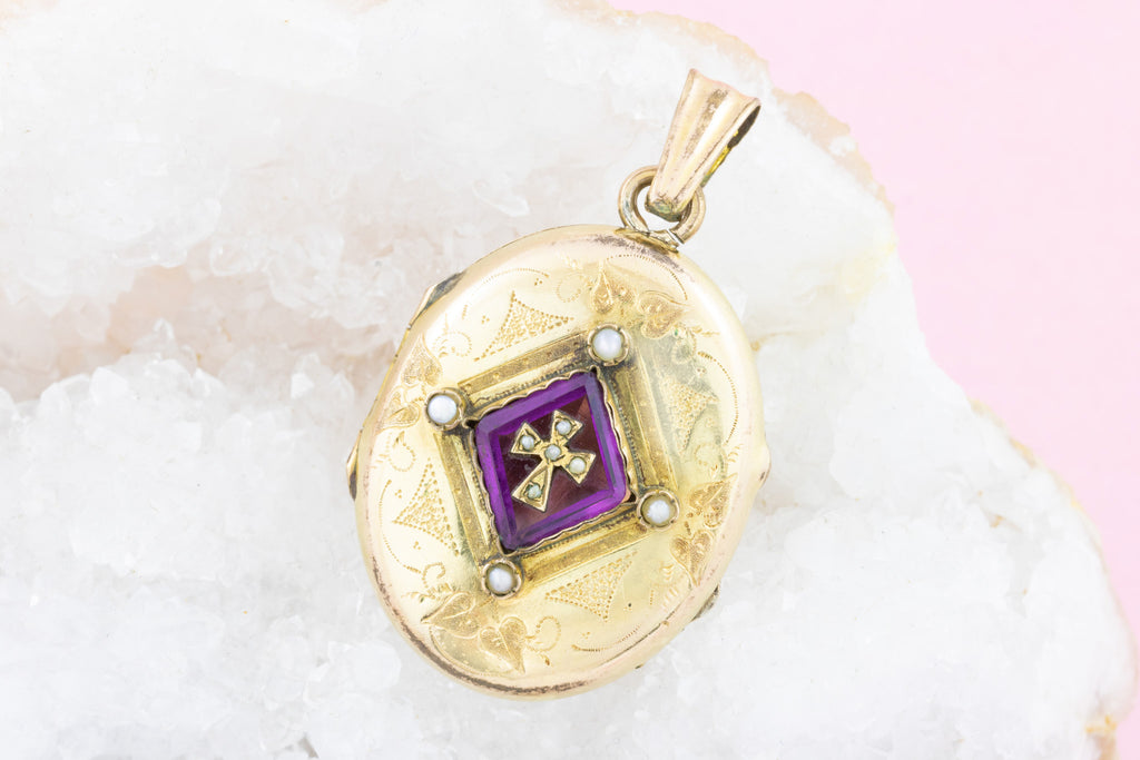Victorian Gold Amethyst Cross Locket