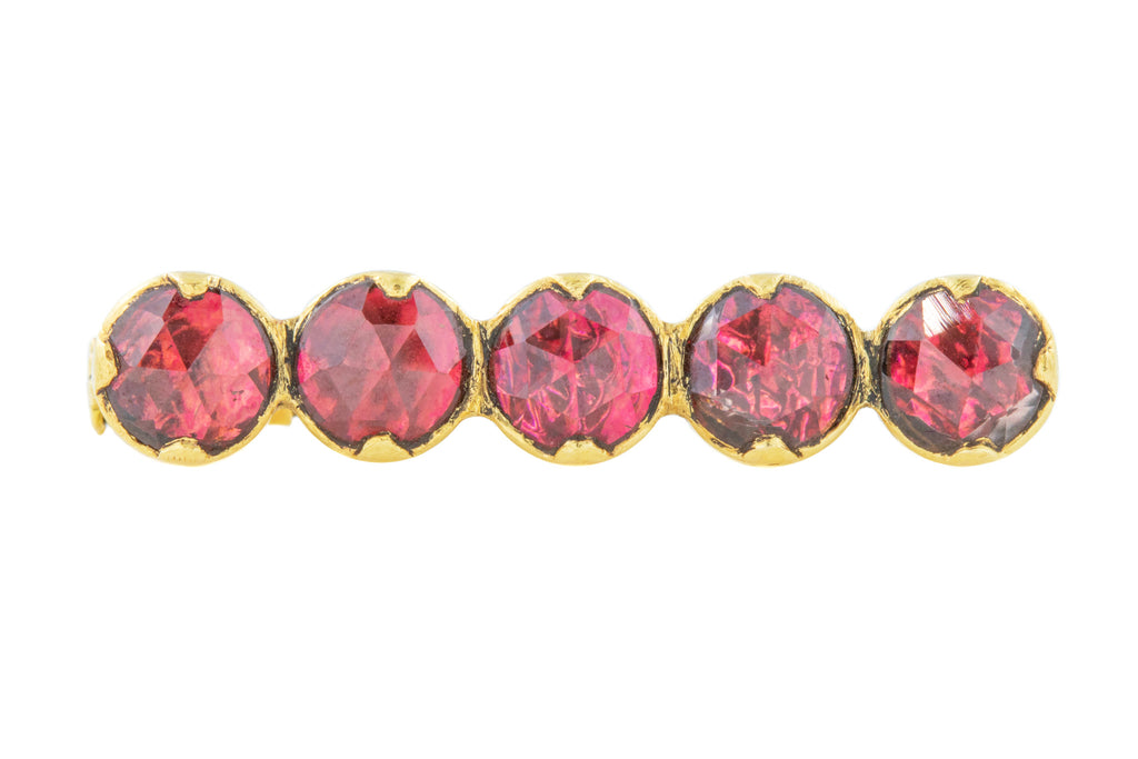 18ct Gold Georgian Perpignan Garnet Brooch