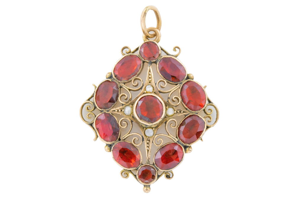Georgian Garnet and Pearl Pendant