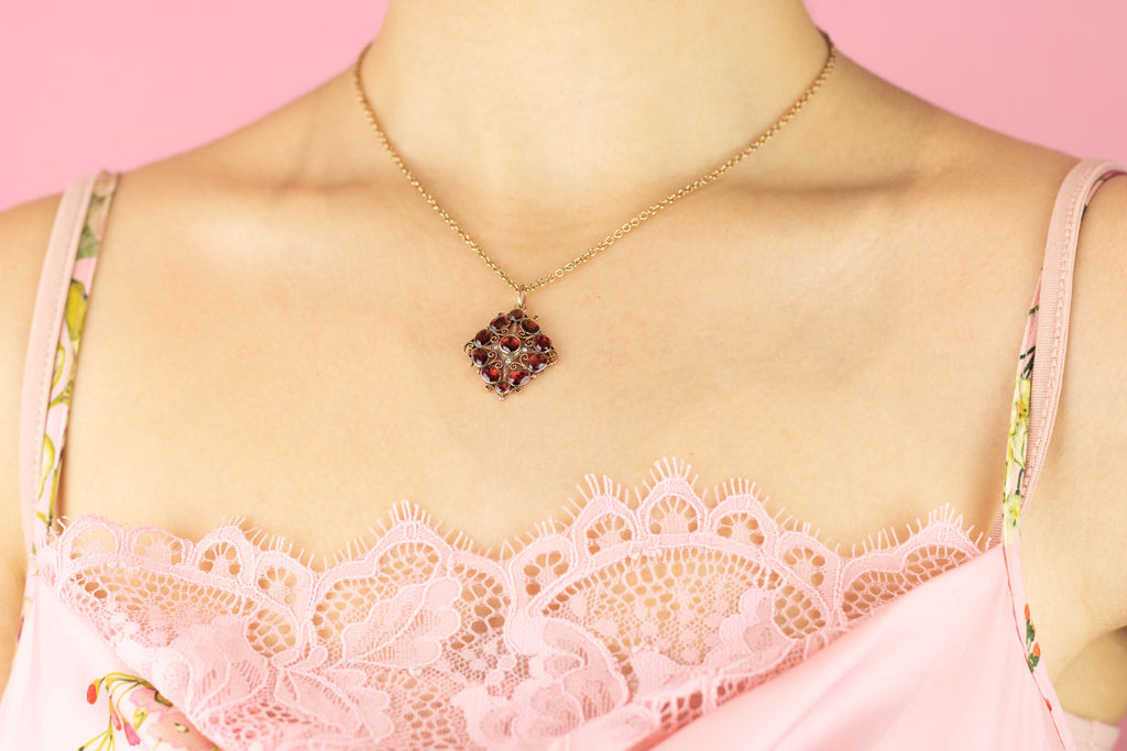 Edwardian Garnet and Pearl Pendant