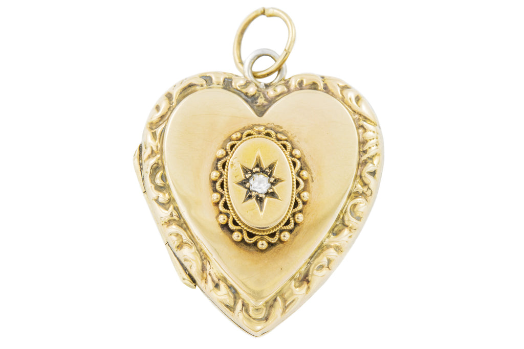 Antique Etruscan Style Diamond Heart Locket