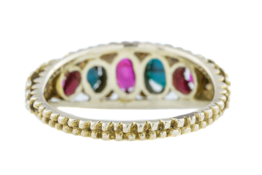 Early Victorian Turquoise and Ruby Gold Ring
