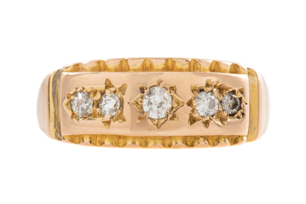 Antique 15ct Gold Five Stone Diamond Gypsy Ring