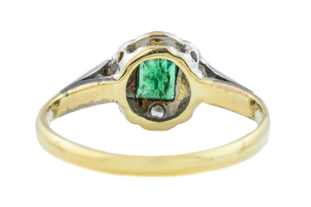 Art Deco 18ct Gold Emerald and Diamond Cluster Ring