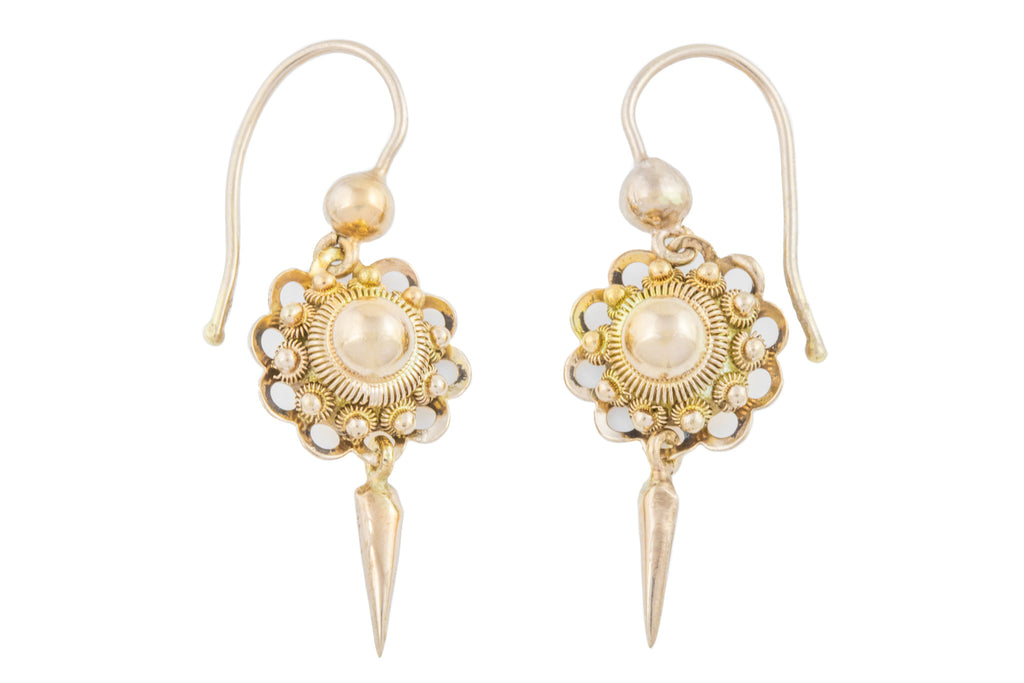 Victorian Gold Etruscan Style Earrings