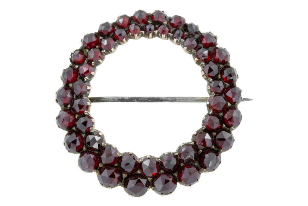 Antique Rose Cut Garnet Roundel Brooch