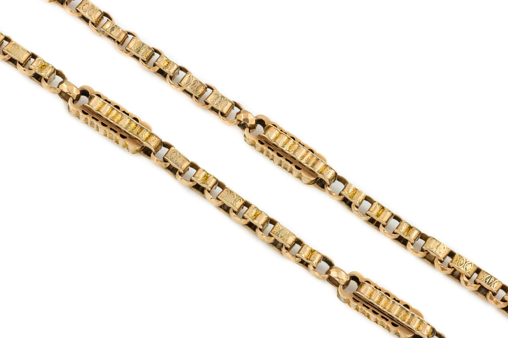"Victorian Double Albert Chain Necklace, 16 & 6/8"" (22.6g)"
