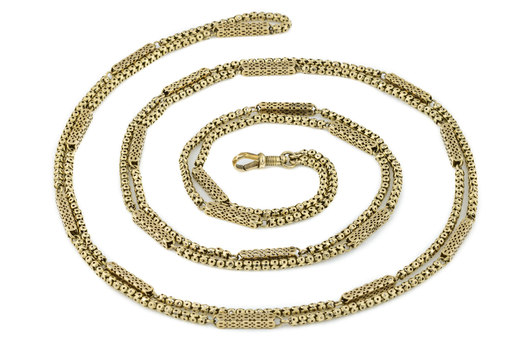"Victorian 9ct Gold Long Guard Chain, 61"" (34g)"