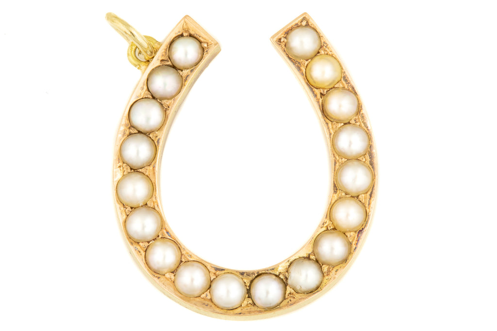Edwardian 15ct Gold Pearl Horseshoe Pendant
