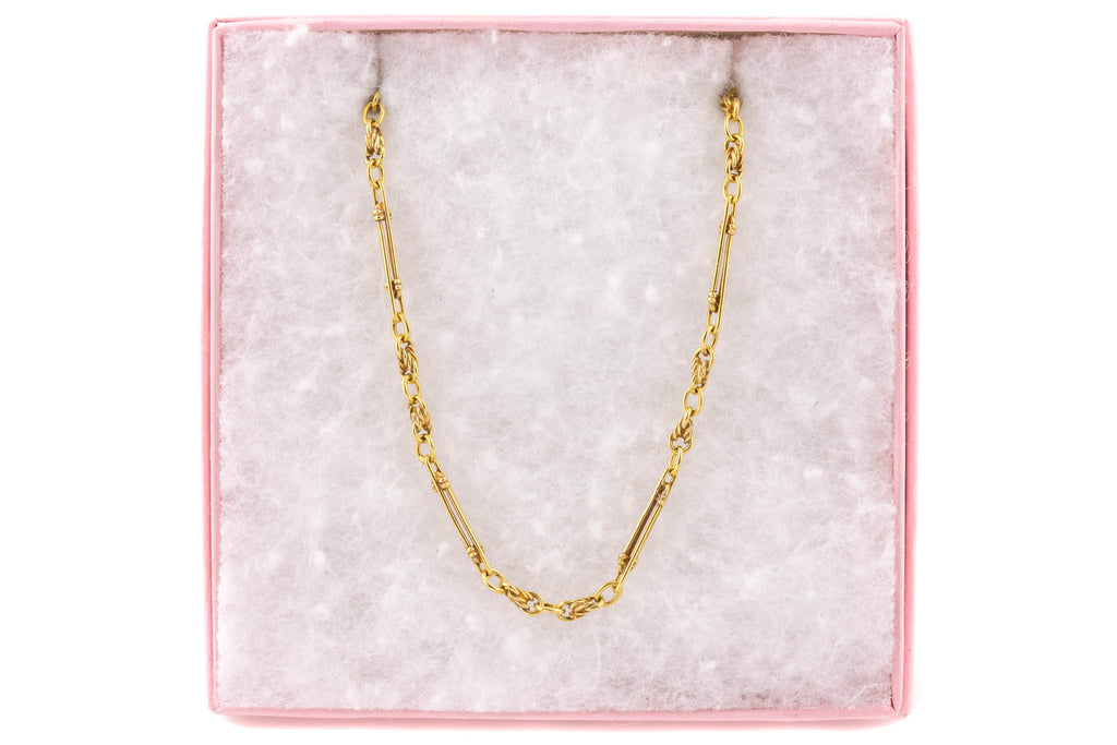 "Antique 18ct Gold Paperclip Lover's Knot Chain, 19&3/4"" (15.1g)"