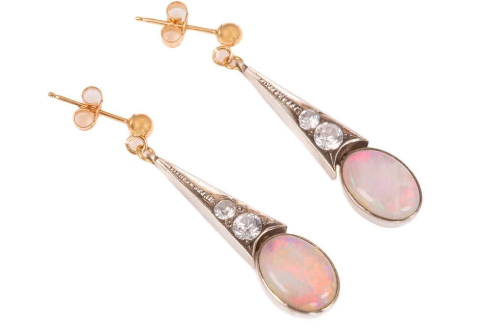 Art Deco Silver Opal Paste Drop Earrings