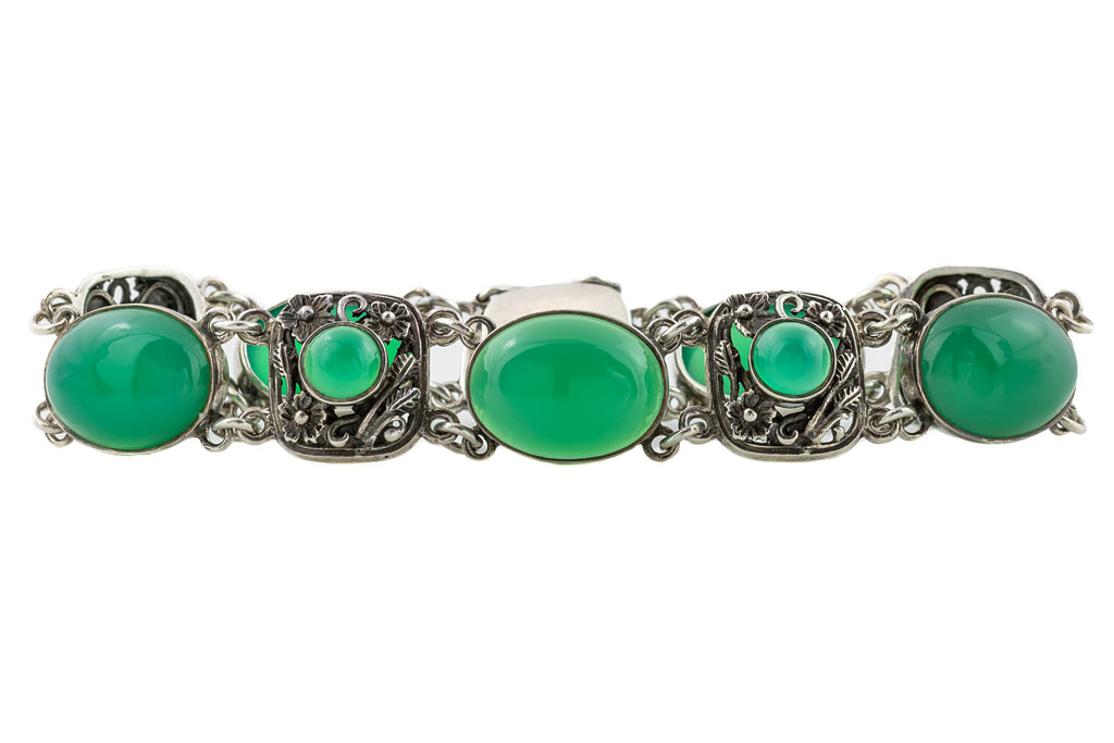 Arts and Crafts Style Green Chalcedony Bracelet