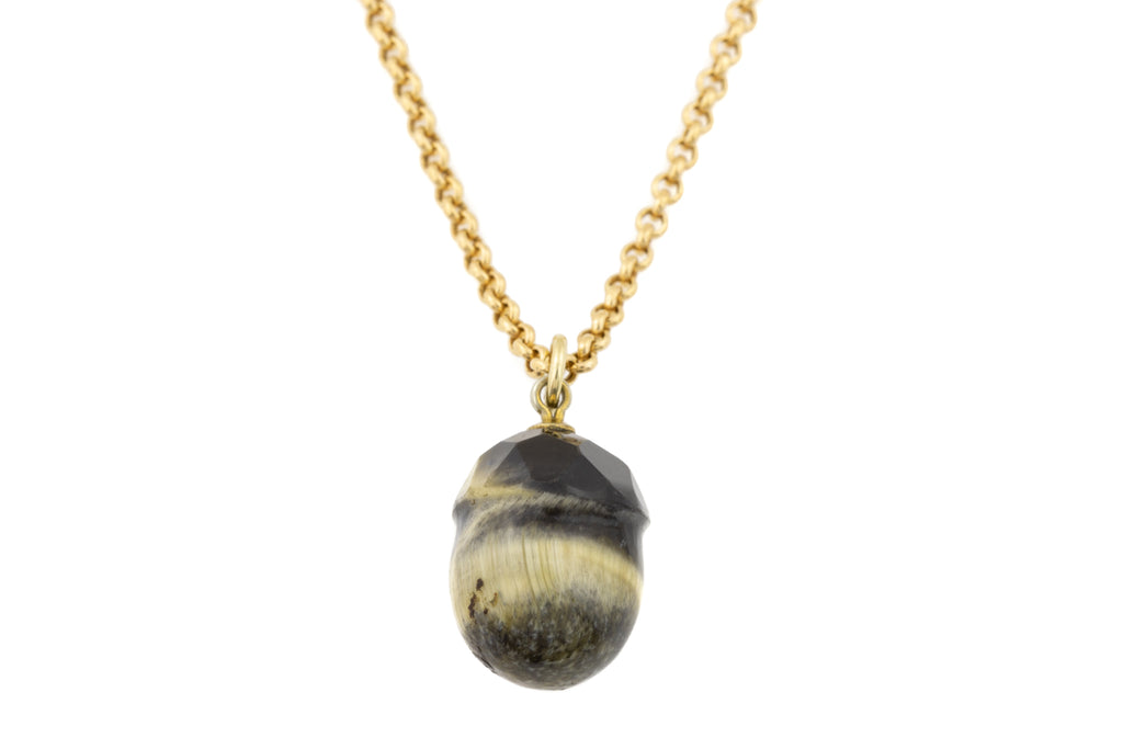 "Antique Tiger's Eye Acorn Pendant, with 20"" Antique Chain"