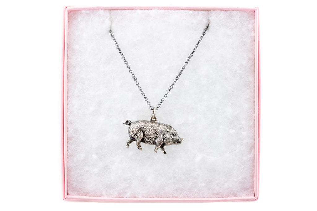"Victorian Pig Pendant, with 18"" Chain"