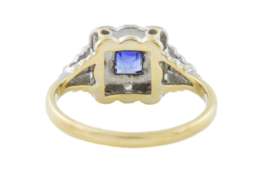18ct Gold Art Deco Sapphire Diamond Cluster Ring