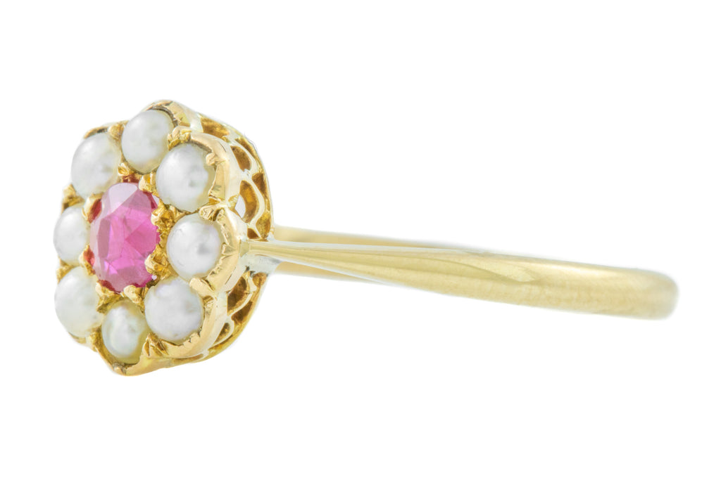 Antique Gold Ruby Pearl Cluster Ring