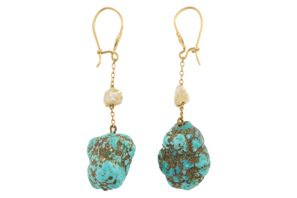 Antique Turquoise Baroque Pearl Earrings, with 9ct Gold Hooks