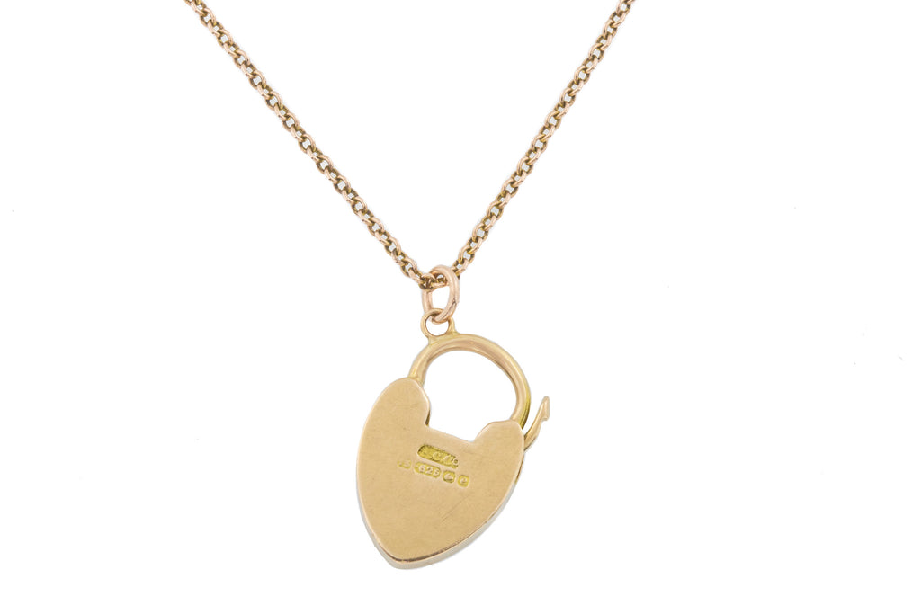 Edwardian 15ct Gold Padlock Charm Pendant with Antique Chain c.1904