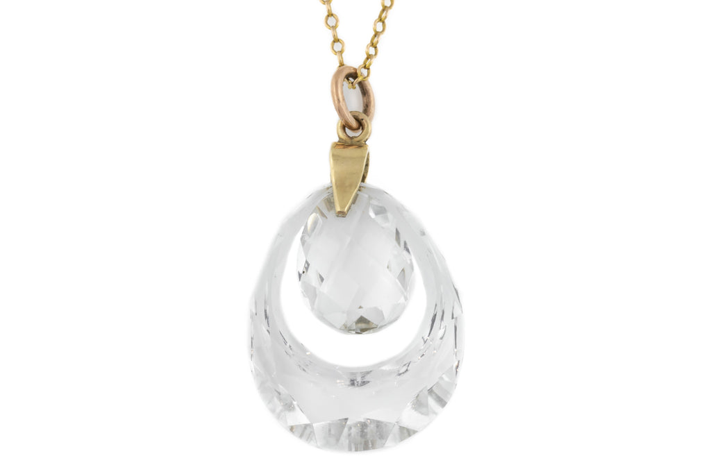 "Art Deco Rock Crystal Pendant, with 20"" Antique Chain"