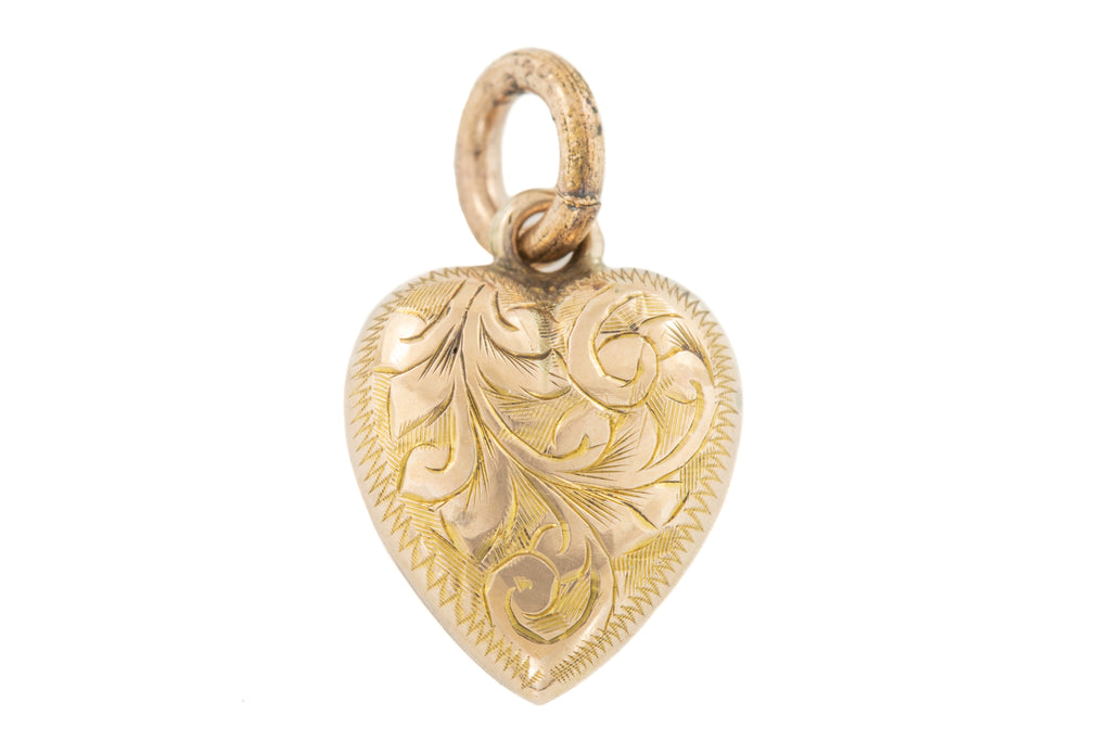 Antique Gold Chased Heart Pendant