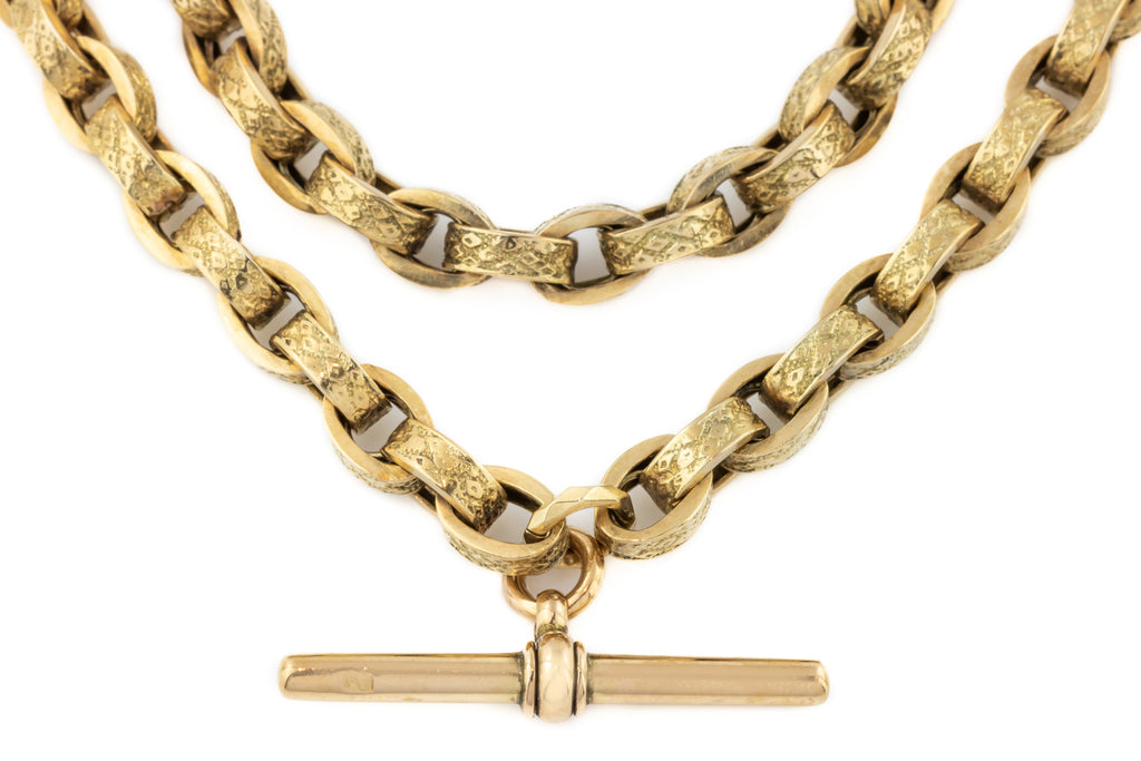 Fancy 9ct Gold Albert Chain with T-bar and Dog Clips, 16""