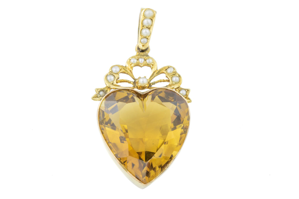 Antique Citrine Heart Pendant, (18.21ct)