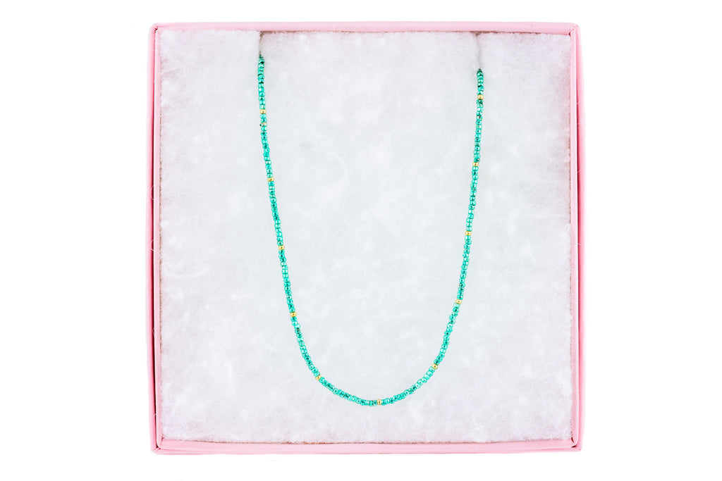 Antique Green Cut Steel Necklace