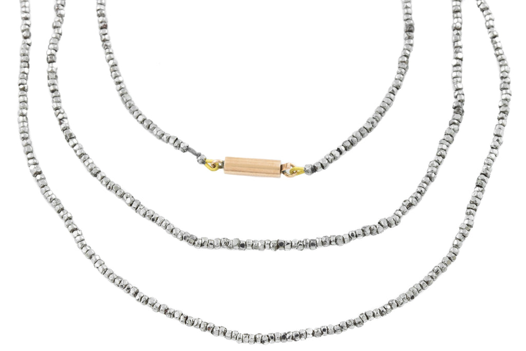 Antique Long Cut Steel Bead Necklace, 60""