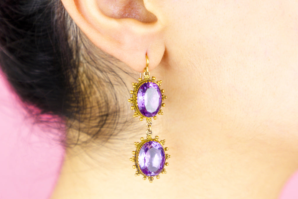 Georgian 15ct Gold Amethyst Drop Earrings, (20.24ct)