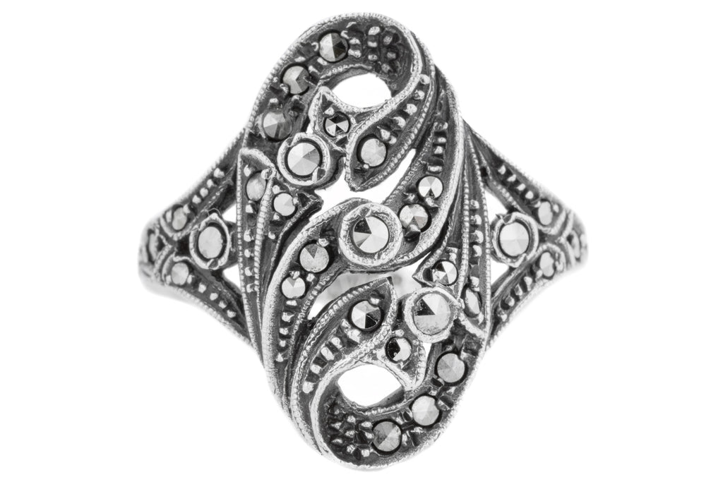 Art Nouveau Silver Marcasite Dress Ring c. 1910
