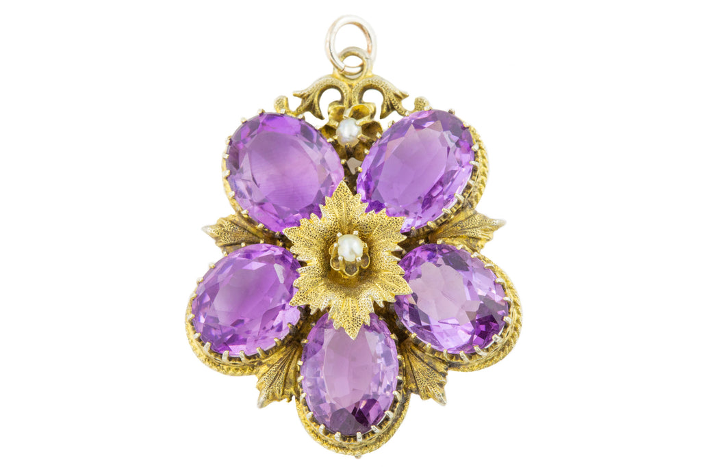 Antique Silver Amethyst Pansy Pendant (25.94ct)