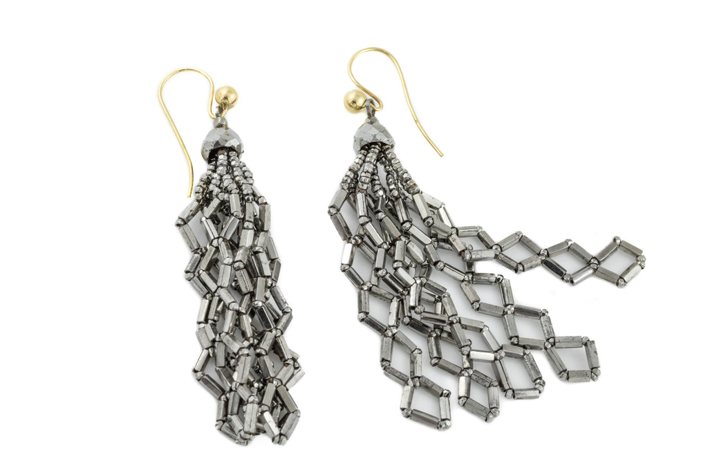 "Georgian Cut Steel ""Lightning Bolt"" Earrings"
