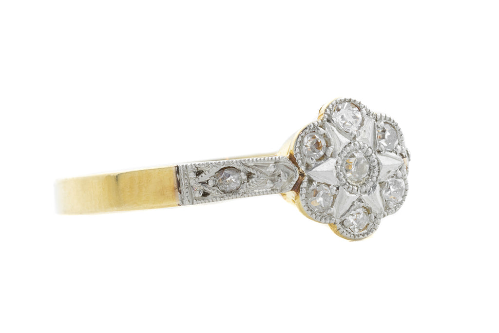 18ct Gold Art Deco Diamond Cluster Ring (1