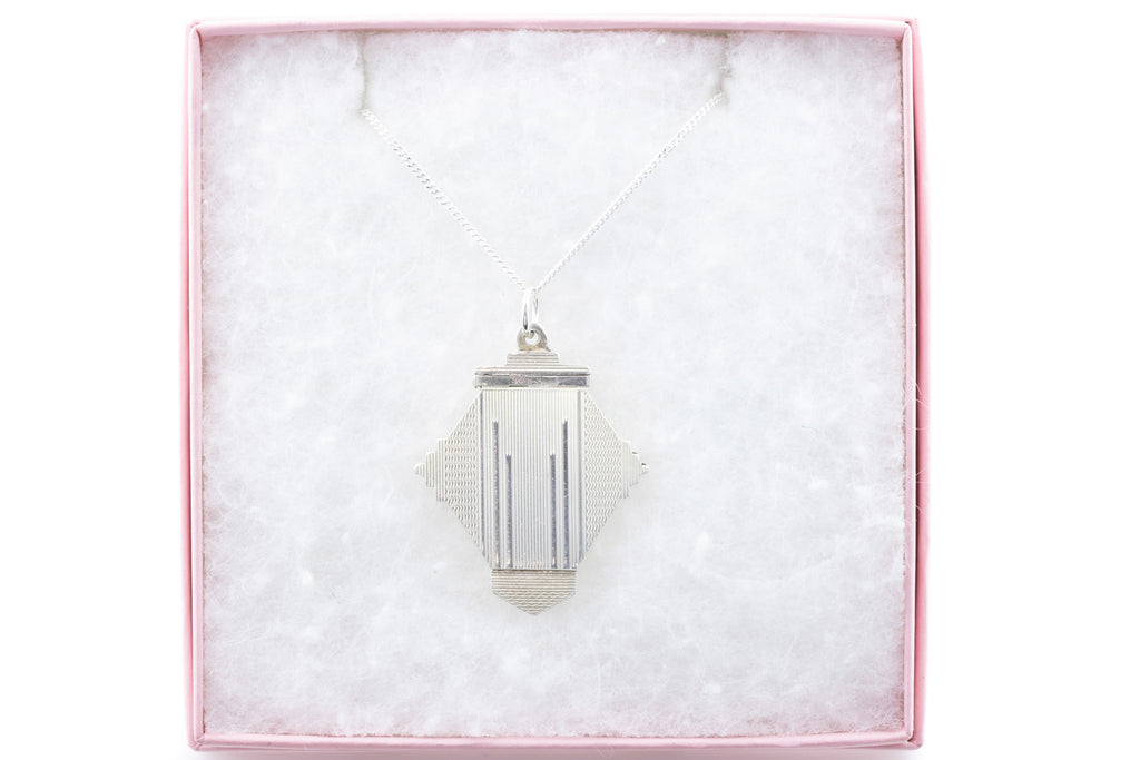"Art Deco Silver Locket, with 18"" Chain"