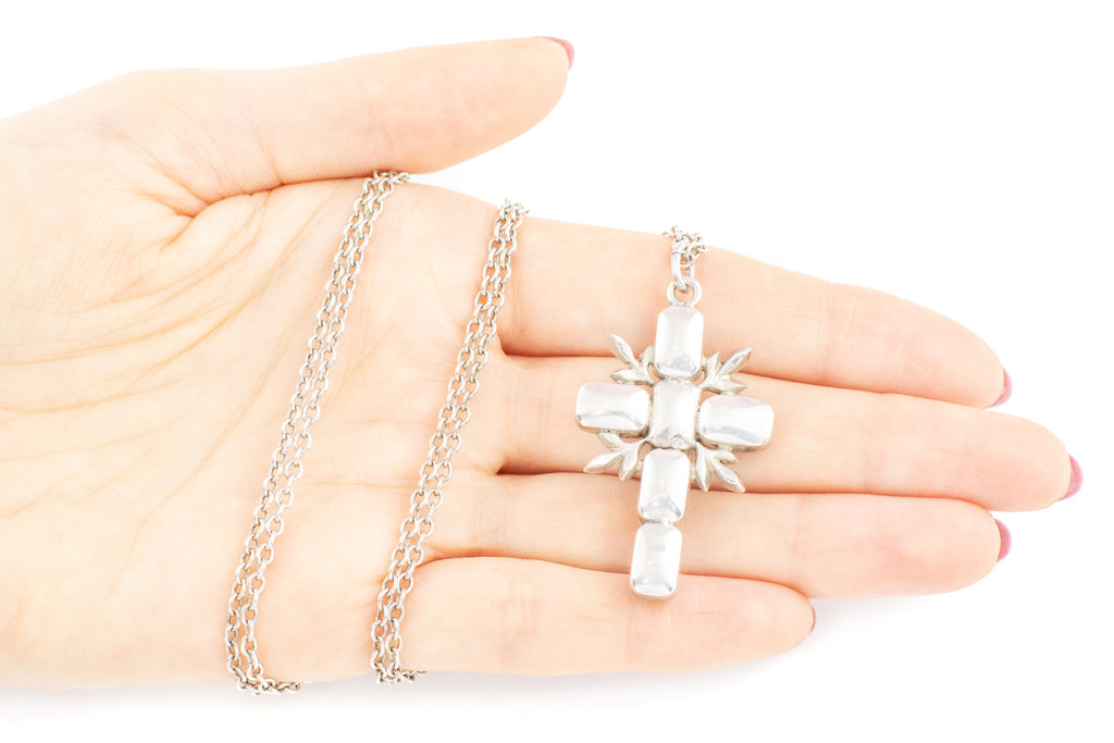 Edwardian Aquamarine Paste Cross Pendant with Silver Chain