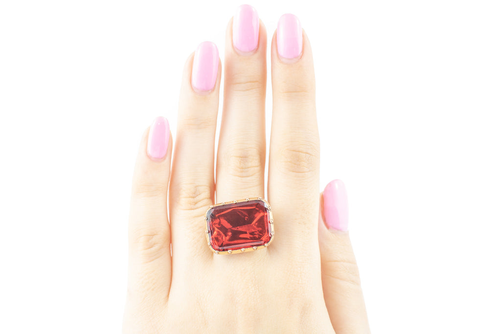 Georgian Garnet Paste Ring (5.29ct)