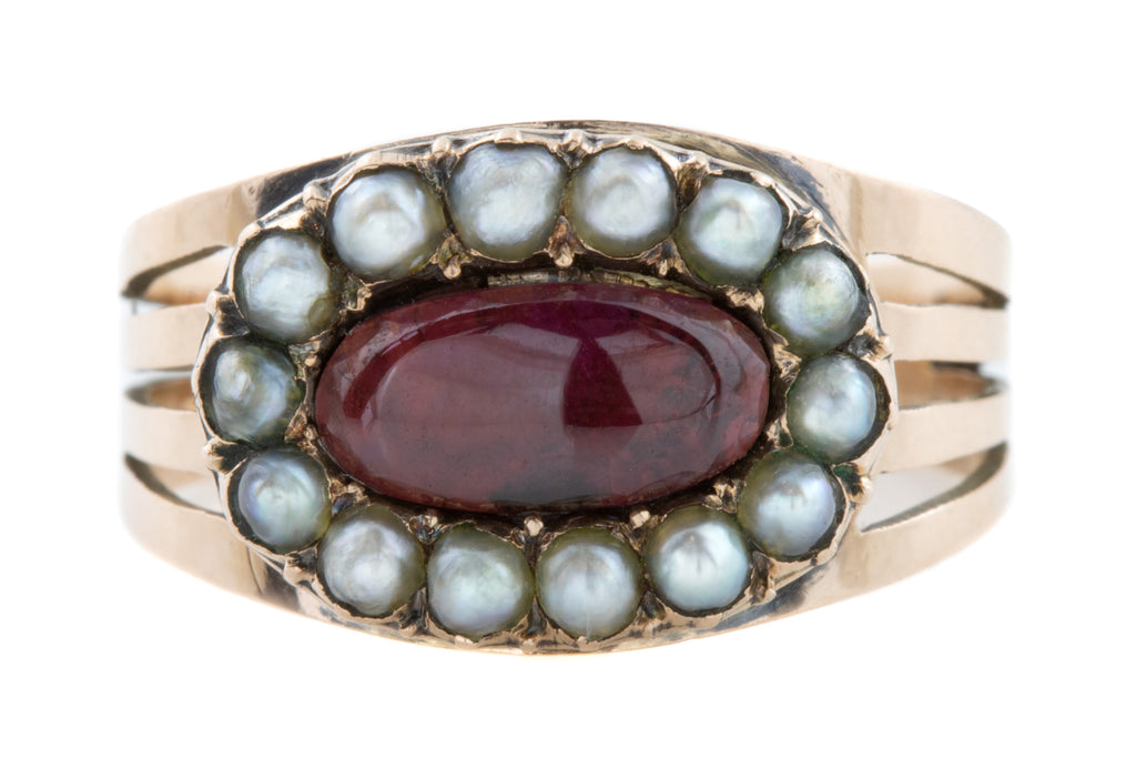 Inscribed Georgian Garnet Pearl Mourning Ring c.1802