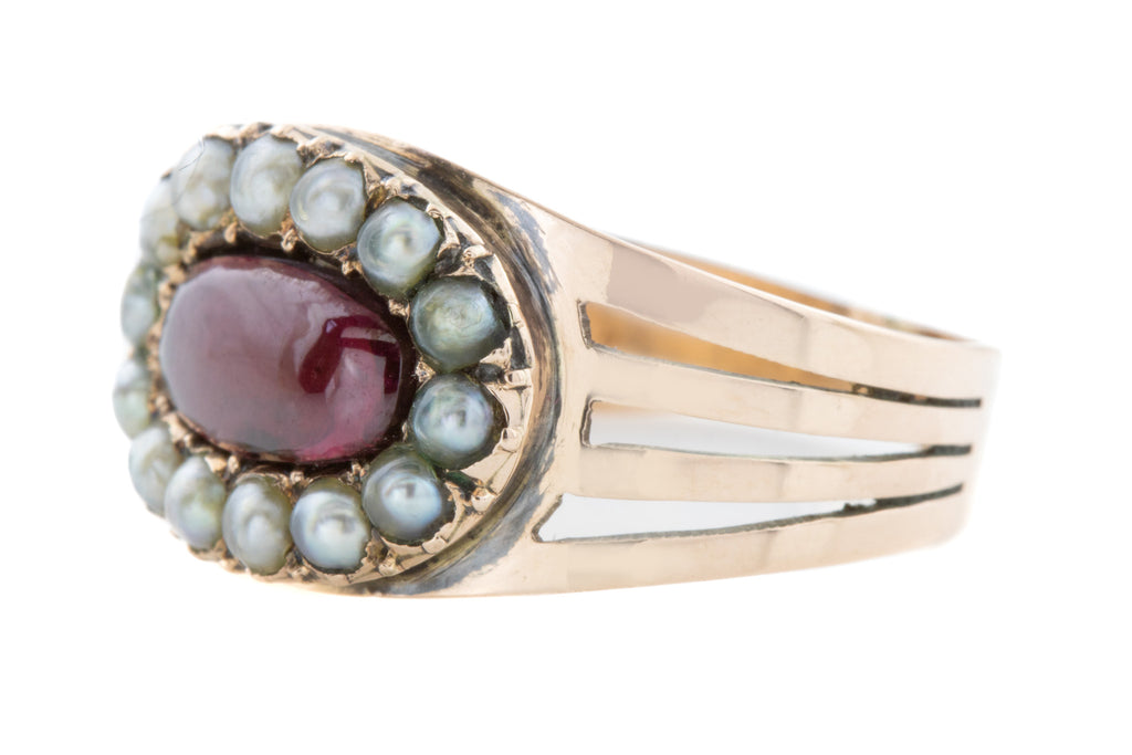 Inscribed Georgian Garnet Pearl Ring c.1802