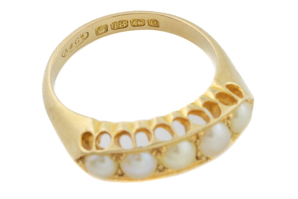 18ct Gold Edwardian Pearl Ring c.1904