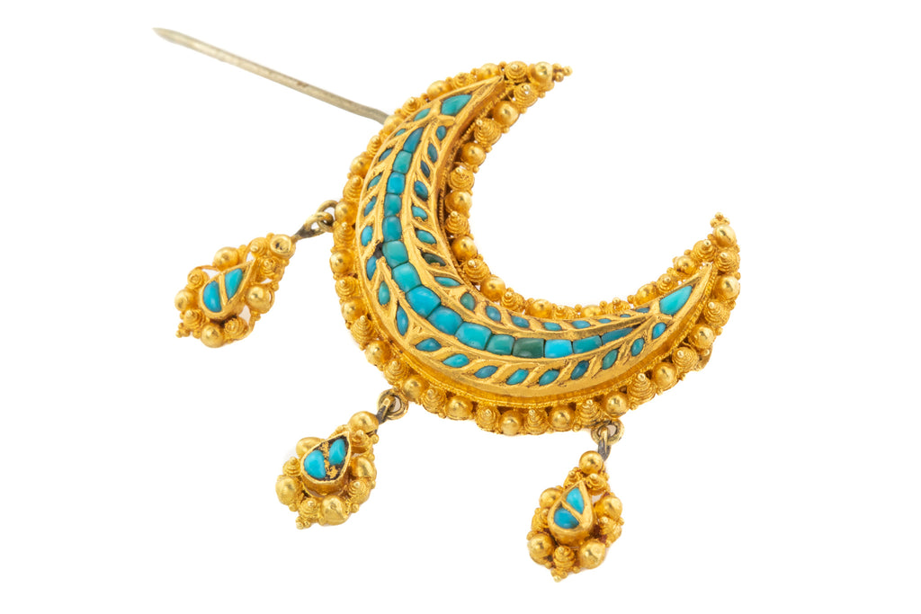 Victorian 18ct Gold Cased Turquoise Crescent Brooch