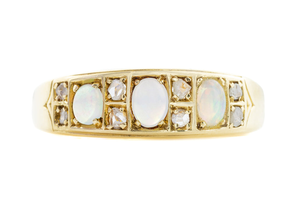 Antique 18ct Gold Opal Diamond Ring c.1884
