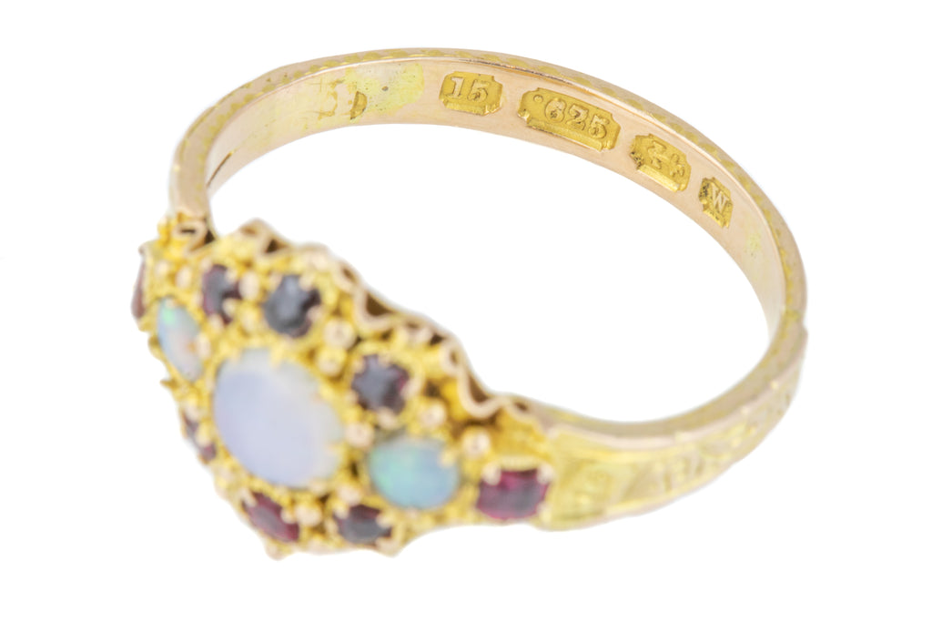 15ct Gold Antique Cluster Ring with Opal, Ruby, Paste Ring c.1871