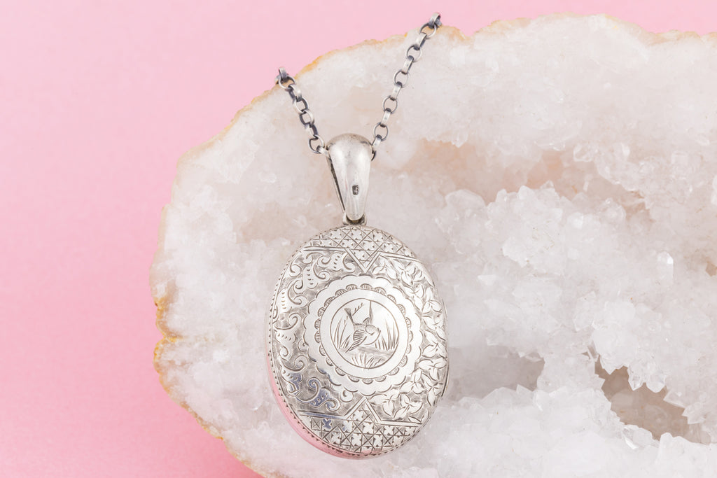 "Victorian Aesthetic Silver Locket, with 18"" Chain"